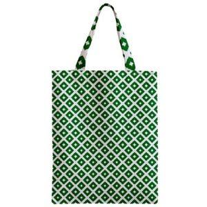 NWT Printed Canvas Tote Geometric Ikat Dot Green